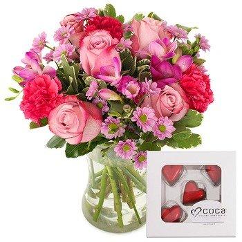 Flores Rosas y Chocolate (Jarrón no incluido)