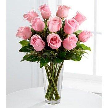 E8-4304 El Ramo de Rosas Rosadas de Tallo Largo de FTD - JARRÓN INCLUIDO
