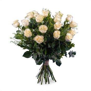 18 Rosas Blancas de Tallo Largo