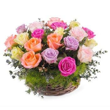 Centro de mesa de rosas multicolores
